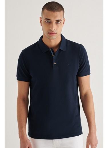 Avva Erkek Polo Yaka Düz T-Shirt A11B1174 Lacivert
